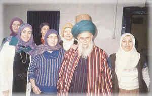 Shaykh Nazim with Hajja Amina and her daughters