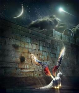 Isra wal Miraj - Buraq with wings 2, angel, Rajab