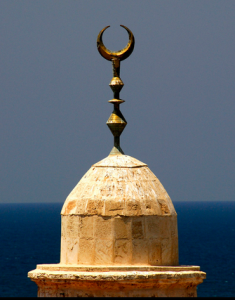 Crescent on minaret-moon - horns
