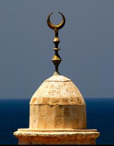 Crescent on minaret-moon - horns