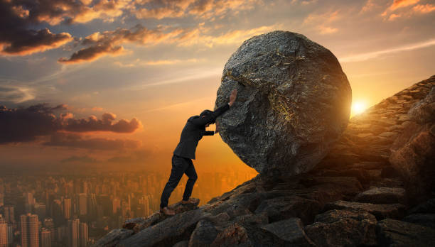Difficulty Man Pushing Rock Hard Time