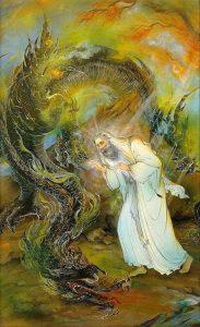 Dragon protecting saint,sufi saint,awliya,