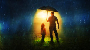Farther and daughter under umbrella, rain, hope, children, family, charity, protection,