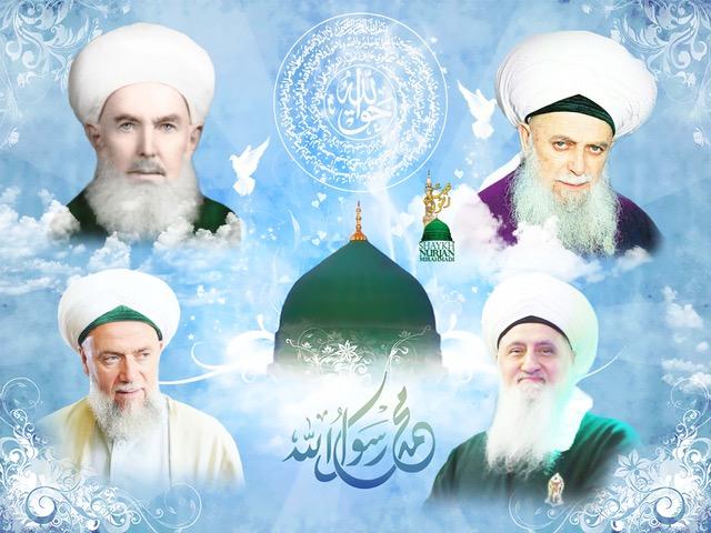 Shaykhs Awliya surrounding Green Dome Madina Sharif with Naqshbandi taweez