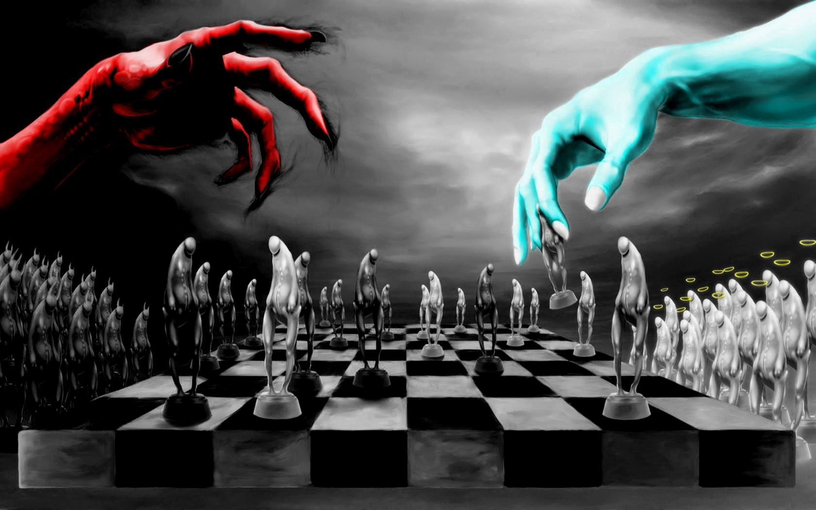 chess game between forces of good and evil, light and dark, positivity and negativity, dajjal, shaitan, satan,