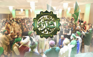 Grand Mawlid large group w Prophet Muhammad (s) flag, love