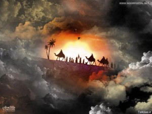 Imam Hussain and family karvan to Karbala