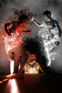 Inner battle - fight of good & evil inside the head