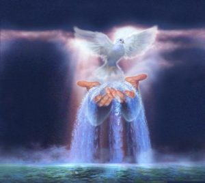 Light - flowing from hands - dove, peace