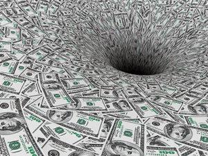 Crisis Concept. Money Flow in Black Hole extreme closeup