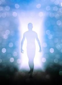 Man in light - draws near me- atoms