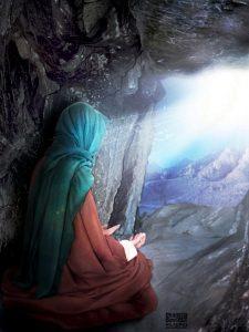 Prophet Muhammad in cave hira,meditation,revelation,light