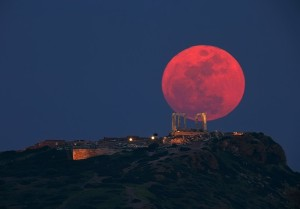 Red Moon above temple-in Greece