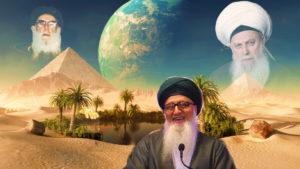 Shaykh Nurjan Mirahmadi,Sheikh Abdullah Al-Faiz Dagestani, Sheikh Nazim al-Haqqani, standing at oasis in desert,