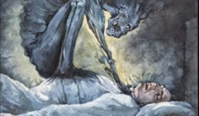 Sleep Paralysis - jinn, monster, devil, sitting on man's chest, satan