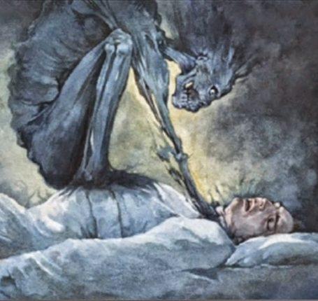 Sleep Paralysis - jinn, monster, devil, sitting on man's chest, satan