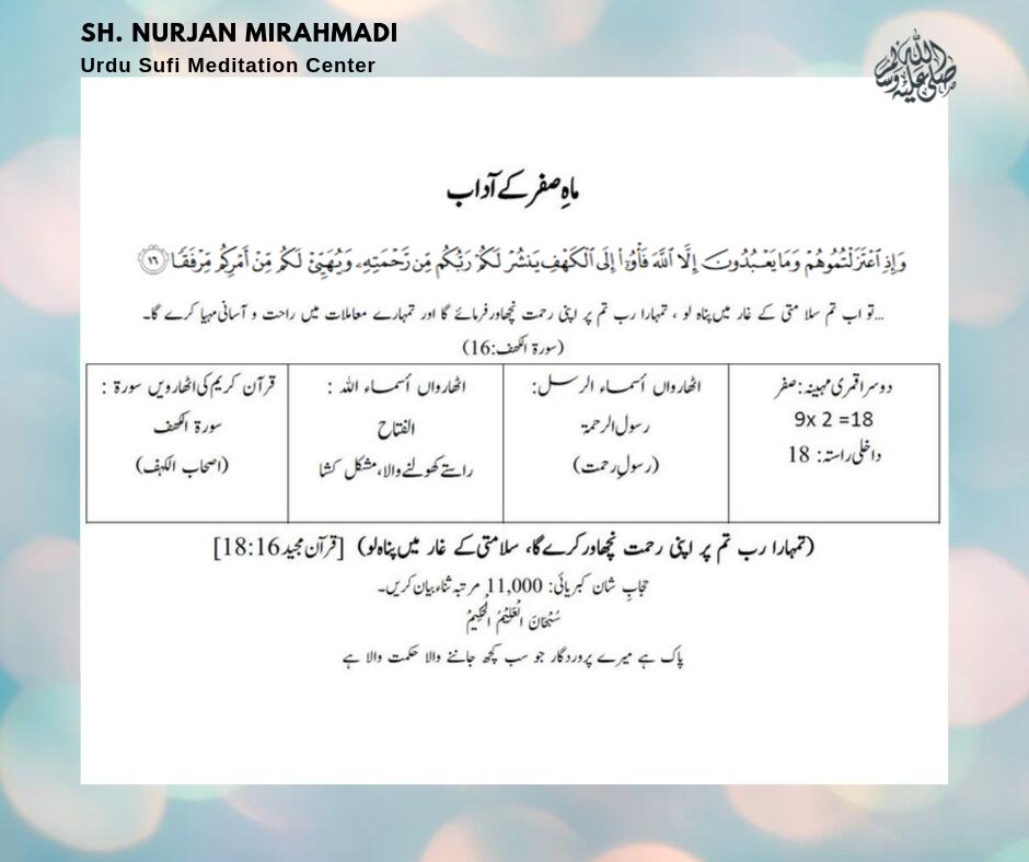 صَفَرْ الْمُظَفَّرْ  ( Safar al Muzaffar)   Entry way: 18  9 X 2 = 18  18th Ismu...
