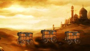 caravans in desert, caravan,