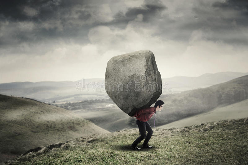 carrying big rock, awrad,