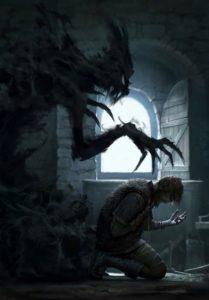 demon-behind-kneeling-man