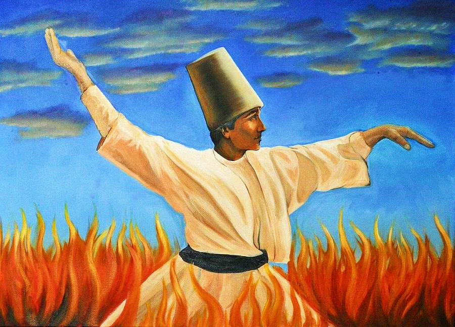 dervish on fire-sufi dervish,whirling,fire of ishq