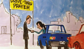 drive thru prayer - cartoon