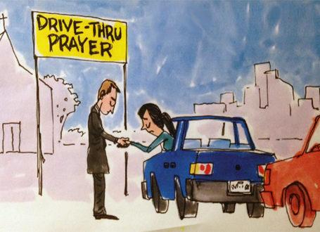 drive thru prayer - cartoon