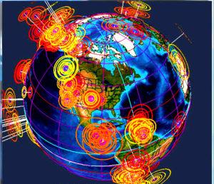 earthquake on globe chart