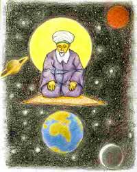 Sufi shaykh meditating in space,planets,Shaykh,hal,experience