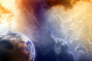 Heaven and earth, mulk, dunya, malakut, earth, sky with light,