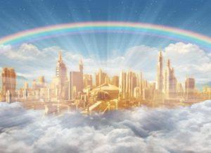 heavenly-home-paradise-light-shining-rainbow-clouds