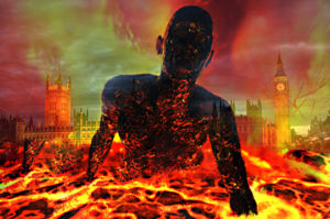 hell-fire, garve punishment, man in pain, lava