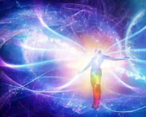 light of a man - atoms - energy, waves of light around