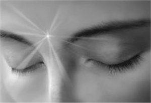 light shining from forehead,eyes closed,nazar bar qadam