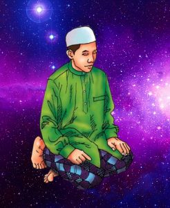 mureed meditating in salah,galaxy,salah,prayer,meditation