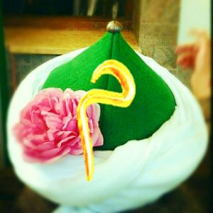 naqshbandi turban with golden meem,arabic huoof on turban