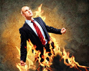 person on fire with anger