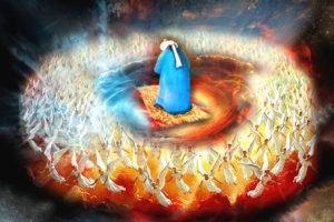 praying namaz with angels, meditation,salah,