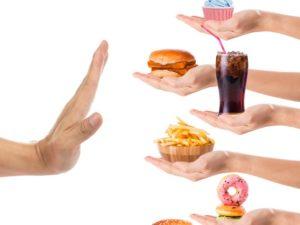 saying no to food, hand, junk food, fast food