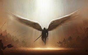 servants of Allah, angels, flying man, wings, battlefield, war, bad versus good, light from sky, madad, support