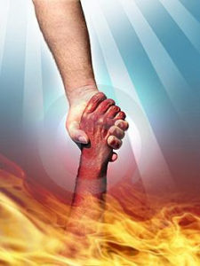 hand pulling another from fire,safety from fire,help,madad