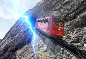 train on mountain side